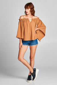 Ladies fashion bell sleeve open shoulder washed poly top