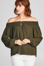 Ladies fashion long sleeve smocked lace-up self tie off the shoulder washed poly top