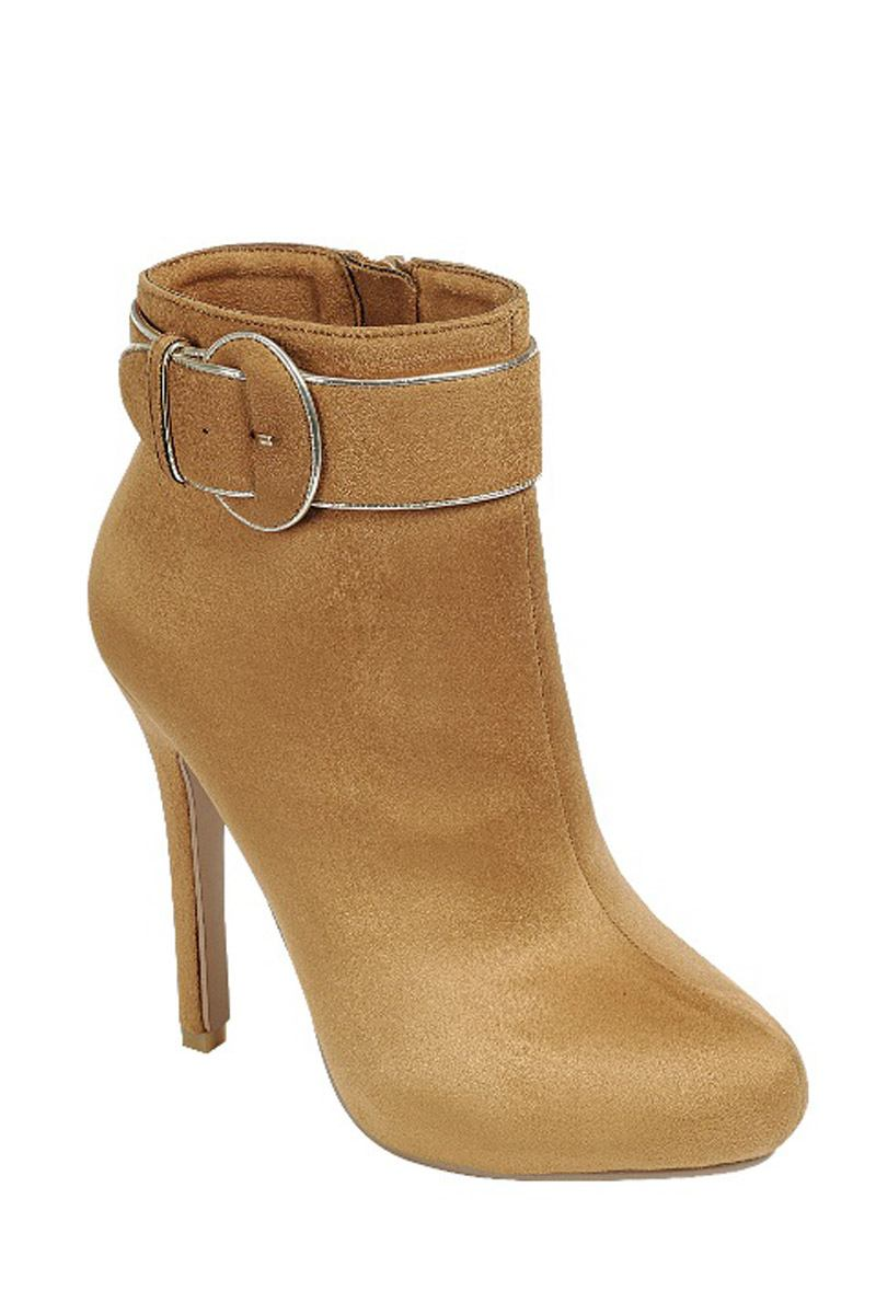 Ladies fashion ankle boot, closed almond toe, stiletto heel, with zipper closure, buckle detail