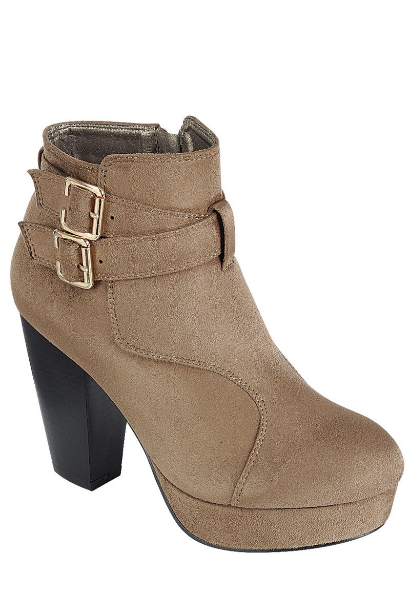Ladies fashion ankle boot, closed almond toe, block heel, with buckle straps