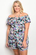 Plus size short sleeve off the shoulder floral print romper
