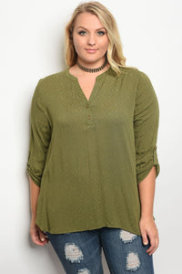 Plus size 3/4 sleeve top with a v neckline