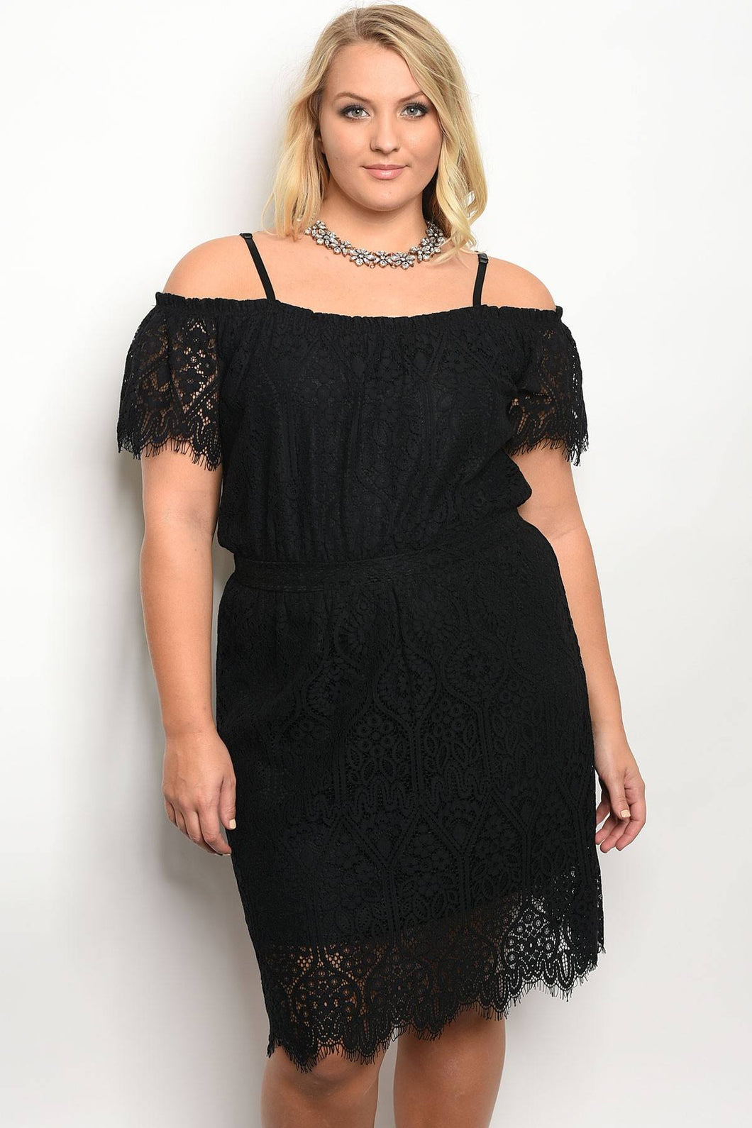 Plus size off the shoulder short sleeve shift dress with lace details