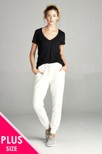 Ladies fashion two tone french terry jogger pants