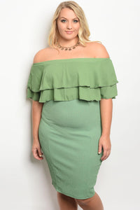 Ladies fashion plus size off the shoulder fitted bodycon dress with ruffle details