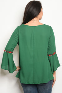 Ladies fashion plus size long sleeve acrylic blend top that features bell sleeves and a rounded neckline