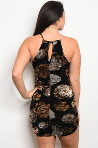 Ladies fashion plus size floral velvet dress