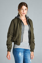 Ladies fashion plus size two tone french terry hoodie mixed bomber jacket