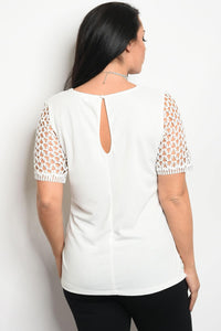 Ladies fashion plus size short sleeve lined lace top that features a v neckline