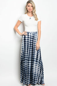 Ladies fashion tie dye printed navy and white jersey maxi skirt
