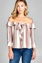 Ladies fashion off the shoulder flounce ribbon tie stripe woven top