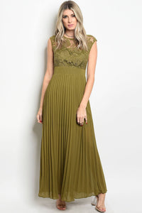 Ladies fashion sleeveless lace full length gown that features a boat neckline and pleated skirt