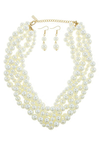 Braided faux pearl necklace set