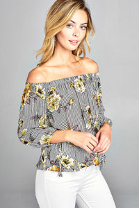 Ladies fashion plus size off the shoulder floral stripe print w/sleeve tie drawstring crinkle gauze woven top