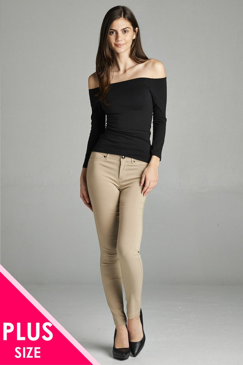 Ladies fashion plus size basic 5 pocket shape long pants