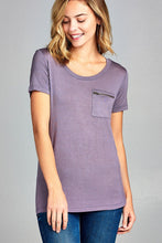 Ladies fashion short sleeve round neck zippered pocket top