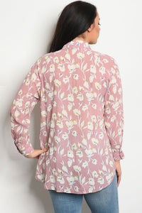 Ladies fashion plus size long sleeve floral print blouse that features a collard neckline