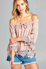 Ladies fashion short sleeve w/crochet trim off the shoulder front ribbon tie crinkle gauze woven top