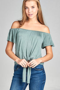 Ladies fashion short sleeve off the shoulder front bow tie rayon spandex top