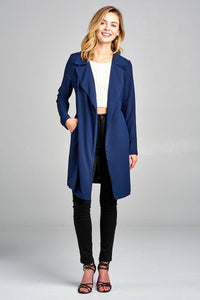 Ladies fashion long sleeve open front w/belt drape woven jacket