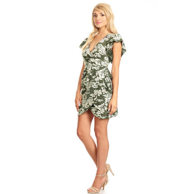 81155-White&Grey Floral Ruched Dress