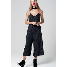 Silver metallic jumpsuit with culotte leg