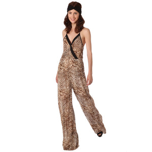 Khaki animal print jumpsuit with black trim