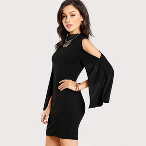 Women's Open Shoulder Black Split Sleeve Stand Collar Pencil Dress