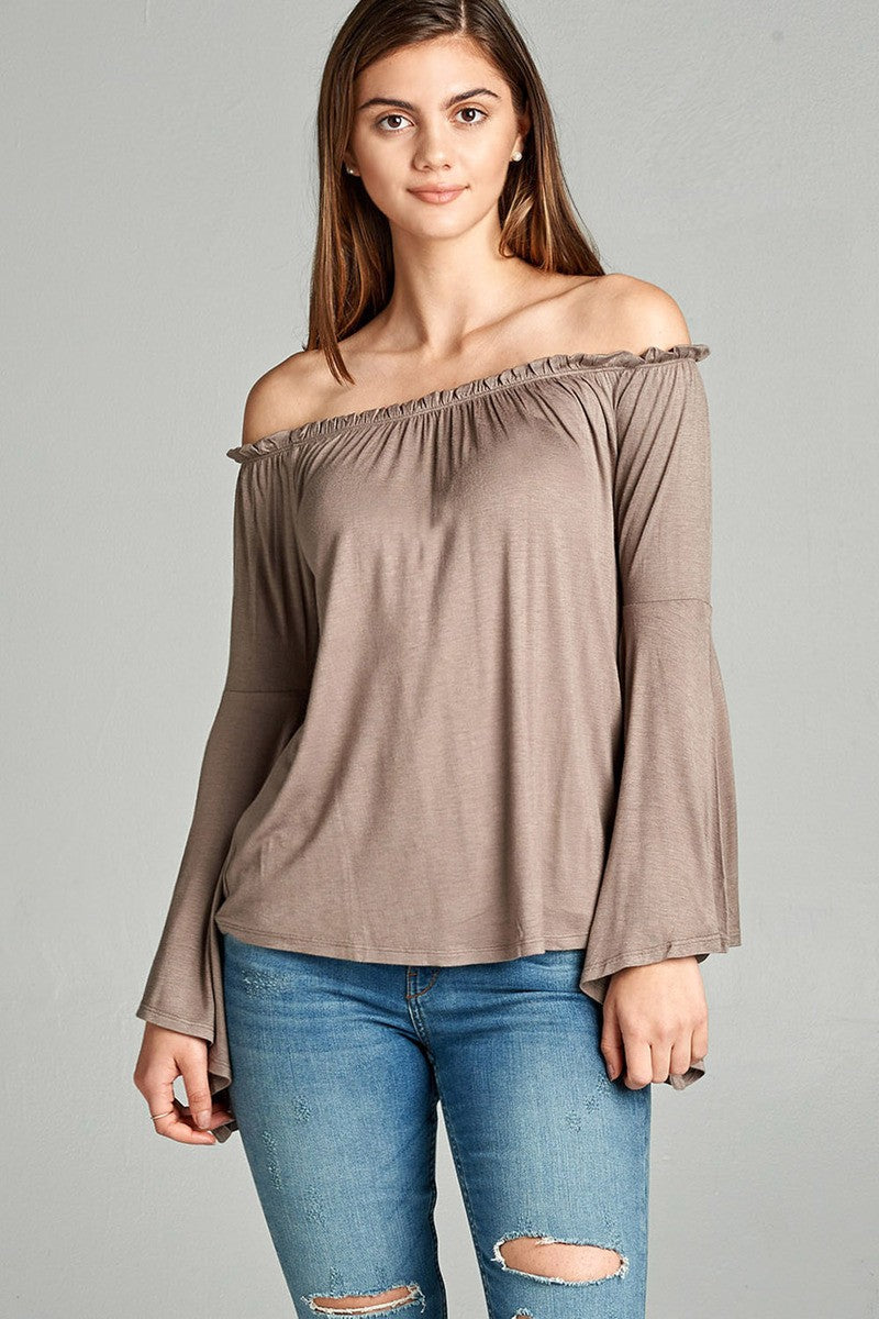 Ladies fashion off the shoulder bell sleeve rayon spandex jersey top