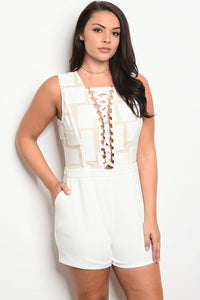 Ladies fashion plus size sleeveless fitted romper with a lace up neckline and geometric pattern top