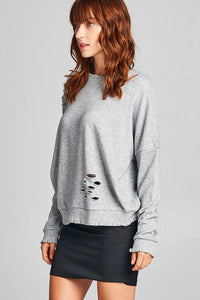 Ladies fshion long sleeve distressed solid french terry top