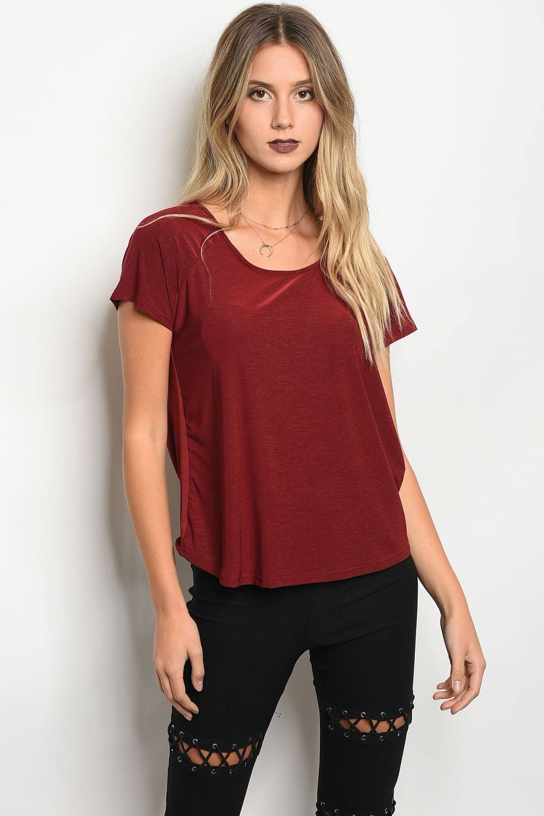 Ladies fashion short sleeve jersey relaxed fit top with a scoop neckline
