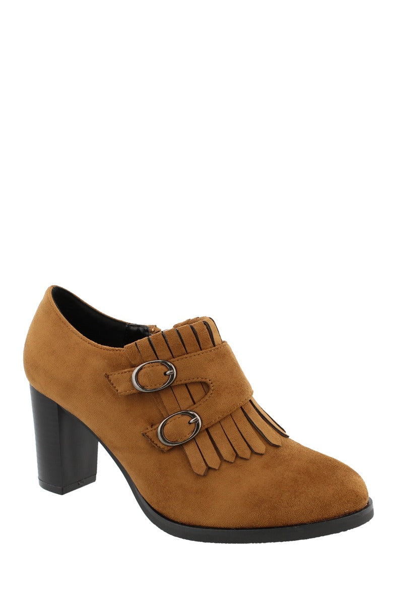 Ladies fashion ankle boot, closed almond toe, block heel, zipper closure, and decorative fringe and buckle detail
