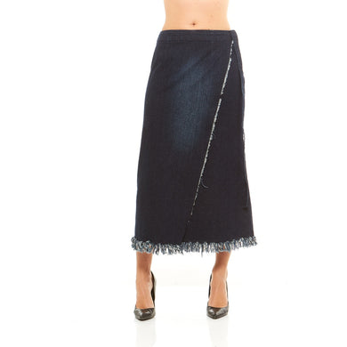 Red Jeans Women's Frayed Hem Denim Wrap Around Skirt