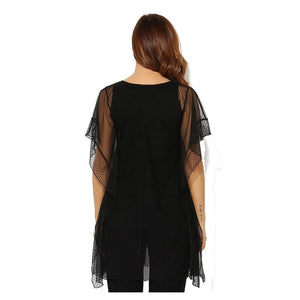 Plus Size Black Sheer-Overlay Tunic