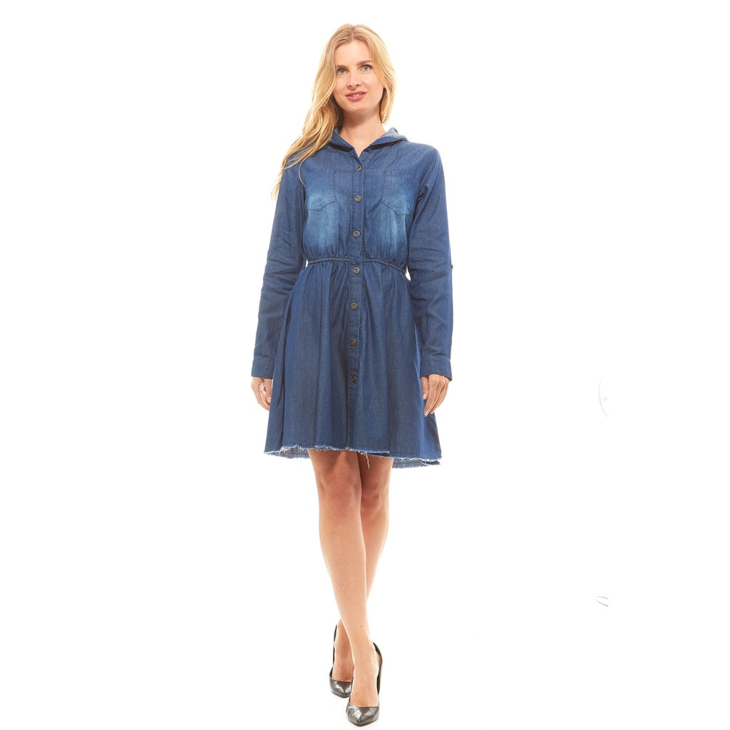 Red Jeans Women's Soft Button Up Hooded Denim Dress