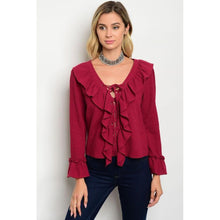 Women's burgundy lace up long sleeve shirts