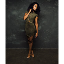 Olive Coloured Suede Dress