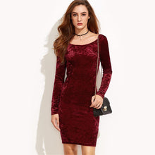 Women's Long Sleeve Dress Burgundy Bodycon Back Draped Velvet Dress