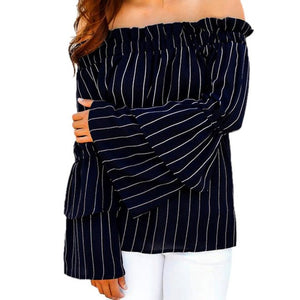 Female Tops Dark Blue Striped Shirts Boat Neck Contrast Applique Long Sleeve Cute Blouse Cotton #LSW