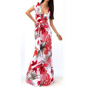 JECKSION Sexy Women Beach Dresses 2016 Fashion Summer Boho Long Maxi Dress Short Sleeve Floral Print Dress #LSIW