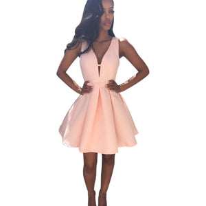 JECKSION Summer V Neck Sleeveless Women Dresses 2016 Fashion Pink Chiffon Party Dress 5 #LSN