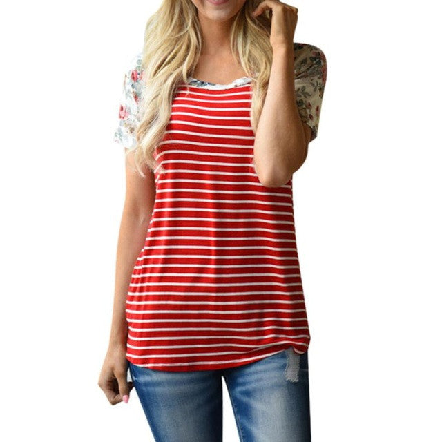 2017 Summer Blouse Casual Women Short Sleeve Flower Printing Blouse Shirt For Elegant Girl Red Striped Tops blusas mujer