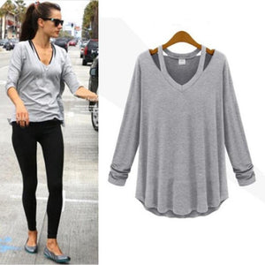 JECKSION poleras de mujer moda 2016  Long Sleeve V Neck Loose Casual Solid Short T-Shirt Tops #LN