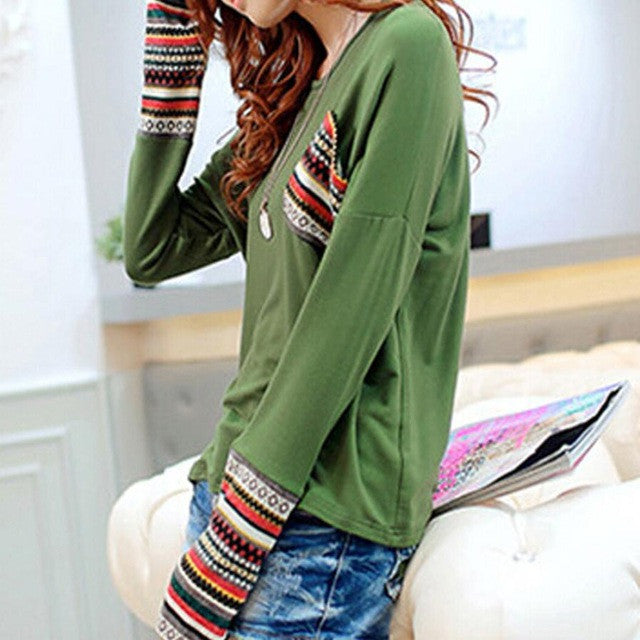 JECKSION Womens Blouse 2016 Fashion Long Sleeve O-Neck Patchwork Loose Blouse Cotton Blend Tops