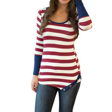 Women Blouse Fashion Stripes Stitching Long-sleeved Shirt O-Neck Tops Blouse Gray  Red Size S~XL Ladies Blouses