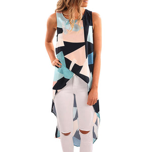 Women's Fashion Crop Top Geometric Asymmetrical Tank Top Sleeveless Blue Long T Shirt Cropped Feminino