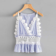 Sexy Lace Camis Women lace up striped camis tops sexy sleeveless spaghetti strap shirts Casual Crop Tank Top Blue Shirt Cami