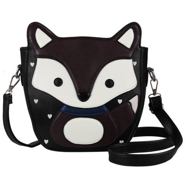 Women Cartoon Fox Campus womens bag small shoulder Leather handbag new arrival 2017 women messenger bags