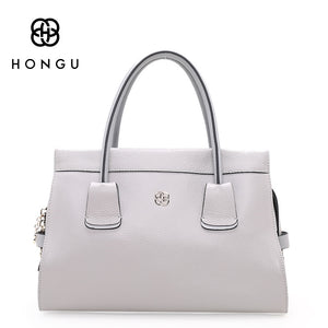 HONGU Genuine Leather Women's Bags Fashion Simple Solid Color European Women Handbags Totes Female Handbag Elegant Lady Hand bag